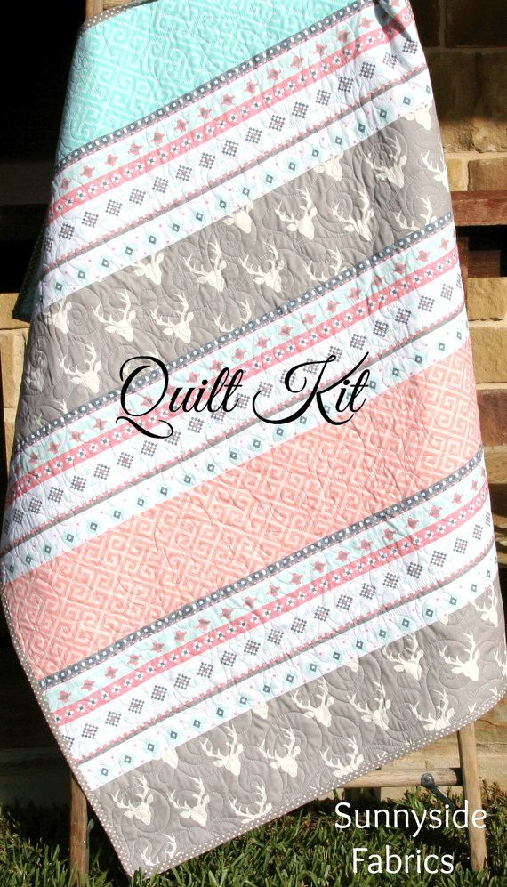 Girl Quilt Kit Aztec Tribal Deer Buck Pink by SunnysideFabrics