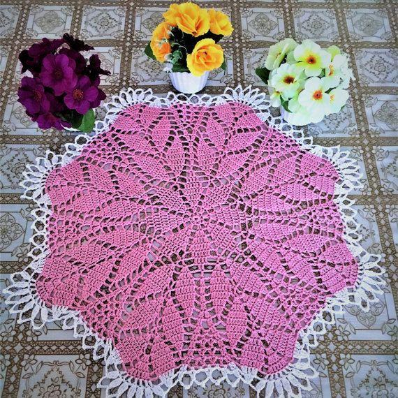 Розовая салфетка крючком ажурное вязание салфетки украшение стола подарок интерьер декор салфетки декор домашний декор вазы декор. 100% хлопок .
