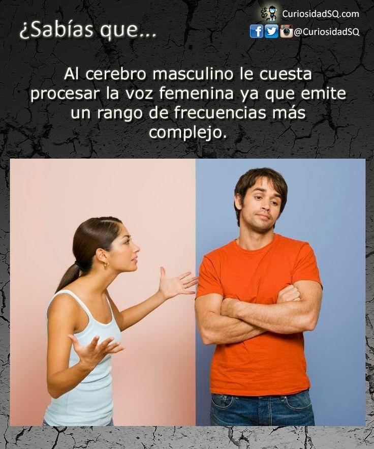 Al cerebro masculino le cuesta procesar la voz femenina ya que emite un rango de frecuencias más complejo. ~ ¿Sabías que?