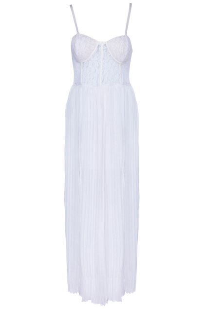 #RomwePartyDress ROMWE | Split Side White Bandeau Dress, The Latest Street Fashion