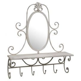 """Perfect for hanging scarves and bags in your master suite or towels and robes in the guest bath, this lovely metal wall rack showcases a scrolling openwork frame with 4 hooks and a mirrored accent.   Product: Wall rackConstruction Material: Metal and mirrored glassColor: Cream and whiteFeatures: Four accent hooksOne display shelf Dimensions: Mirror: 6.5"""" W Overall: 11.75"""" H x 19.5"""" W x 5.5"""" D"""