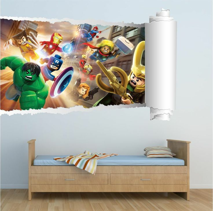 Lego Super Heroes Movie Kids Full colour print Wall Art Sticker Decal Mural