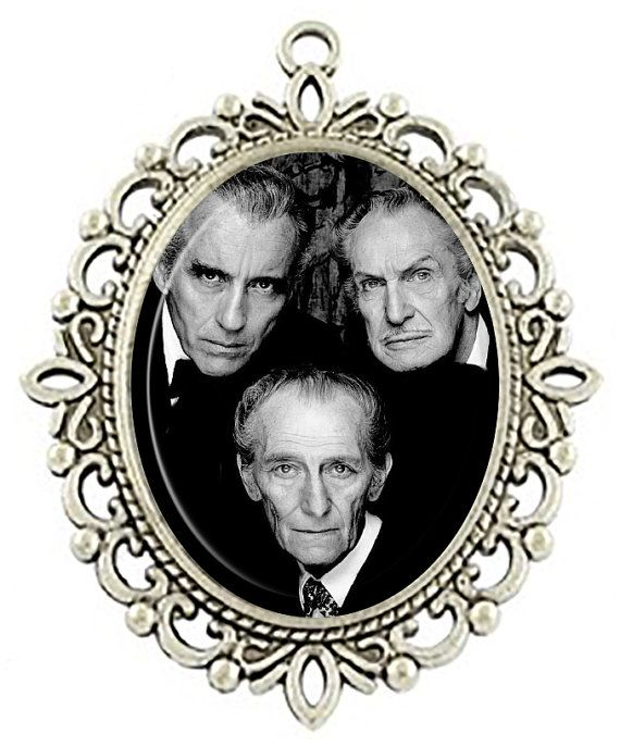 Vincent Price, Peter Cushing & Christoper Lee Necklace $8.00  Etsy listing at https://www.etsy.com/listing/209664659/horror-masters-christoper-lee-peter
