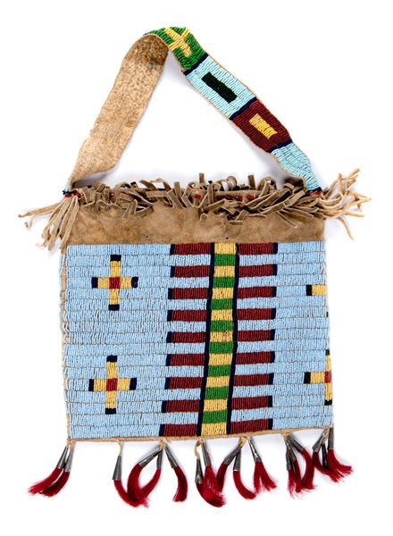 Cheyenne Beaded Hide Bag from the William H. Jensen (ca 1887-1979) Collection, Minnesota (5/12/2016 - American Indian Art: Timed Online Auction - ends 5/23)