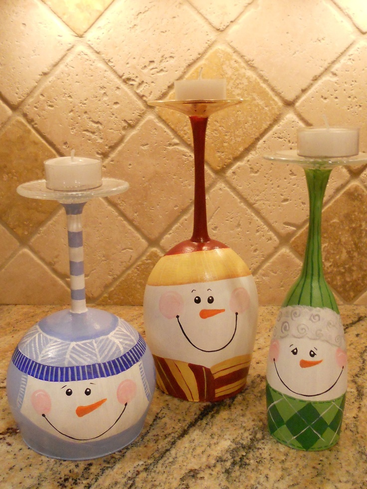 Wine Glass Snowmen Candle Holders  Aunt Debbie!  More Thanksgiving Projects