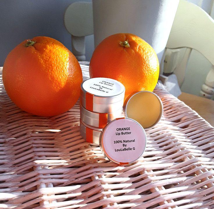 Lip Butter ~ Orange Lip Balm ~ 100% Natural Ingredients ~ Handmade by LouLaBelleG on Etsy
