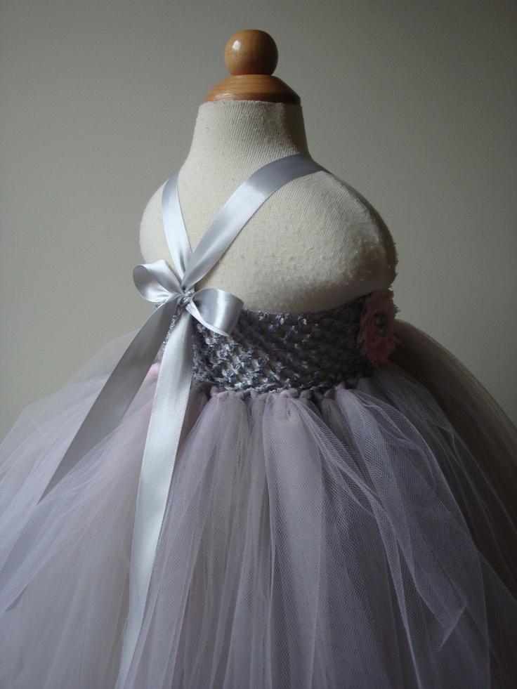 Flower Girl Dress Tutu Ivory Silver Pink Baby
