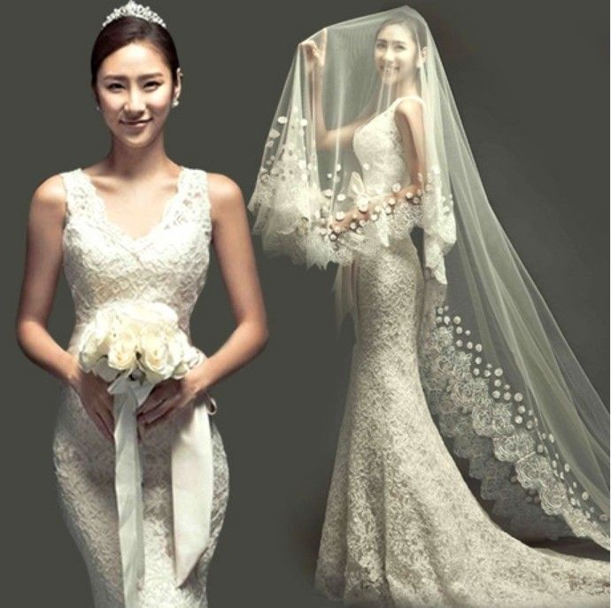 The bride wedding dress Korean trailing tail lace 2014 latest design JH-DR-204 US $68.00