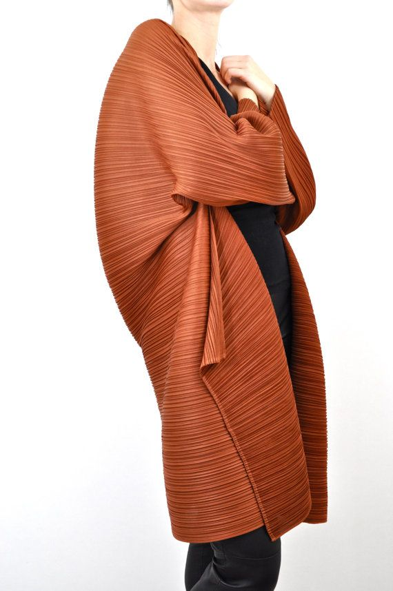 Pleats Please - Issey Miyake Pleated Avant-Garde Copper Jacket from the 1990s