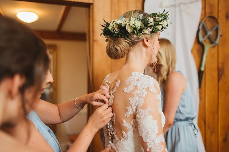 Sarah wears an elegant St.Patrick by Pronovias Gown for an Elegant and Rustic Cotswolds Wedding. Images by Frances Sales