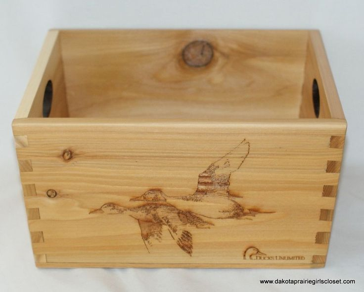 Ducks unlimited du decorative wood shell crate box wooden home decor collectible ducksunlimted - Decorative wooden crates ...