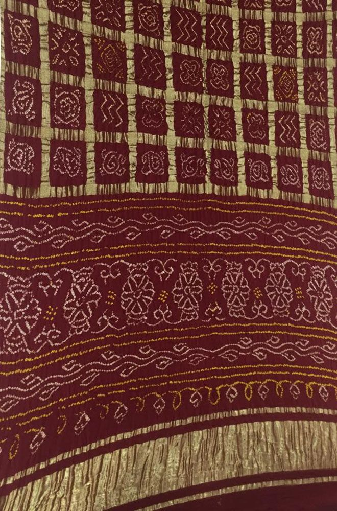 dda867b012 Buy online Maroon Bandhani Gharchola Pure Silk Checks Saree in 2019 ...