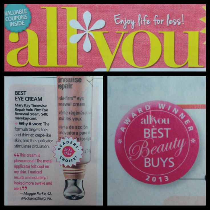 Looking for another reason to love the Mary Kay® TimeWise Repair™ Volu-Firm™ Eye Renewal Cream? It was named Best Eye Cream in All You's Best Beauty Buys for 2013!