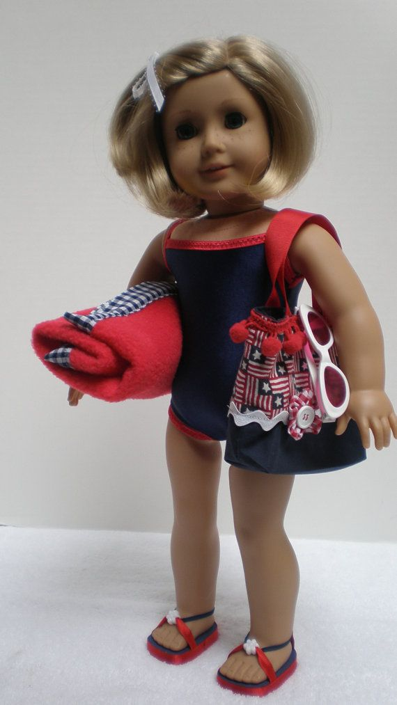 Navy Swimsuit beach mat tote and sandals made to by dollupmydoll, $20.00