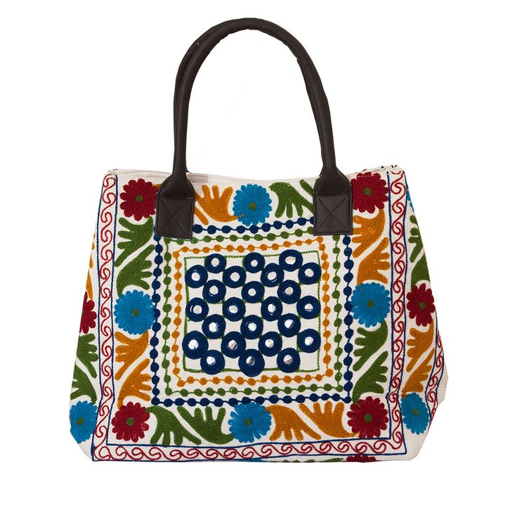 Hand Embroidered Red & Blue Handbag - Mirror work | The Hues of India