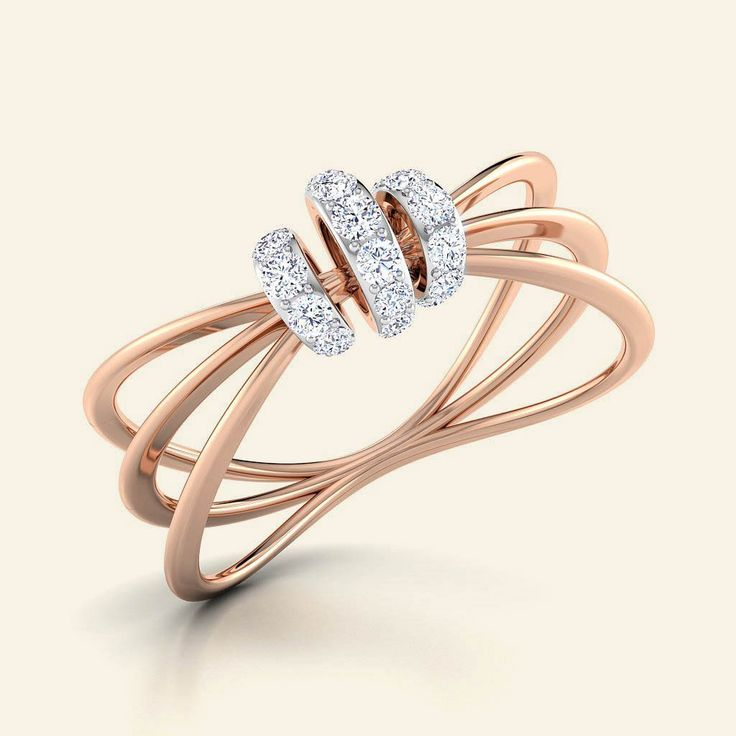 Shop Designer 3 Bands Knot Ring at Caratstyle - Available at 14kt/18kt in White Gold or Yellow Gold or Rose Gold with Free Shipping. Online Jewelry Shopping Store in India.