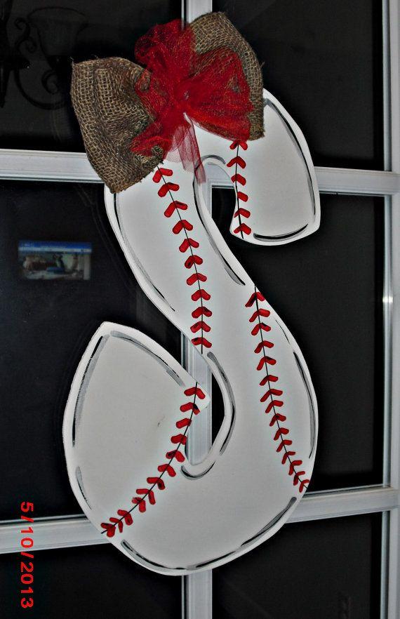 Baseball Alphabet Wood Cut Out Hanger by TheWaywardWhimsy on Etsy, $35.00