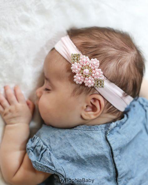 Baby Headband, Light Pink Pearl Flower Headband, Newborn Pink Head band, Baby Pearl Headband, Flower Girl Headband, Baptism Headband, 1419