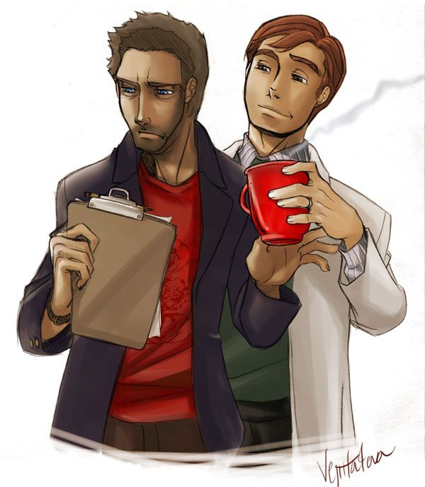 House and Wilson .. and coffee by *vejiicakes on deviantART