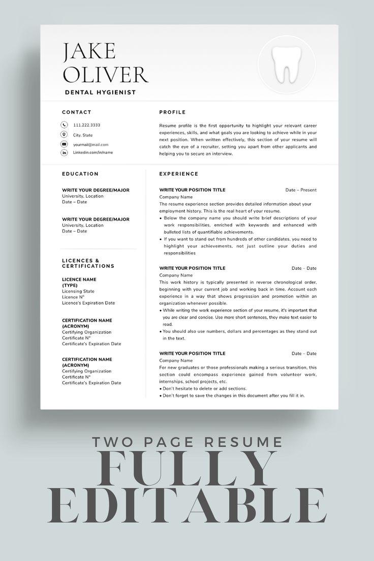 Dental resume template dental assistant resume template