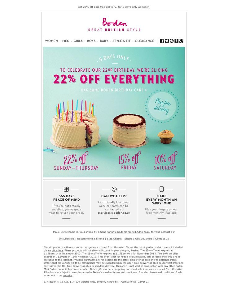 boden Take 22% off EVERYTHING + Free Delivery to celebrate our birthday
