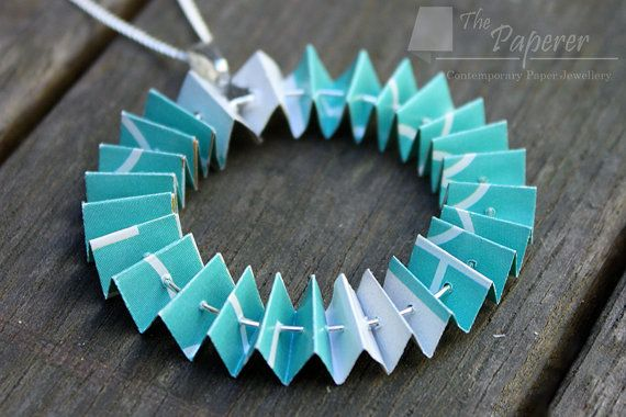 Teal Concertina Paper Necklace. Full Circle Design. by ThePaperer, $30.00