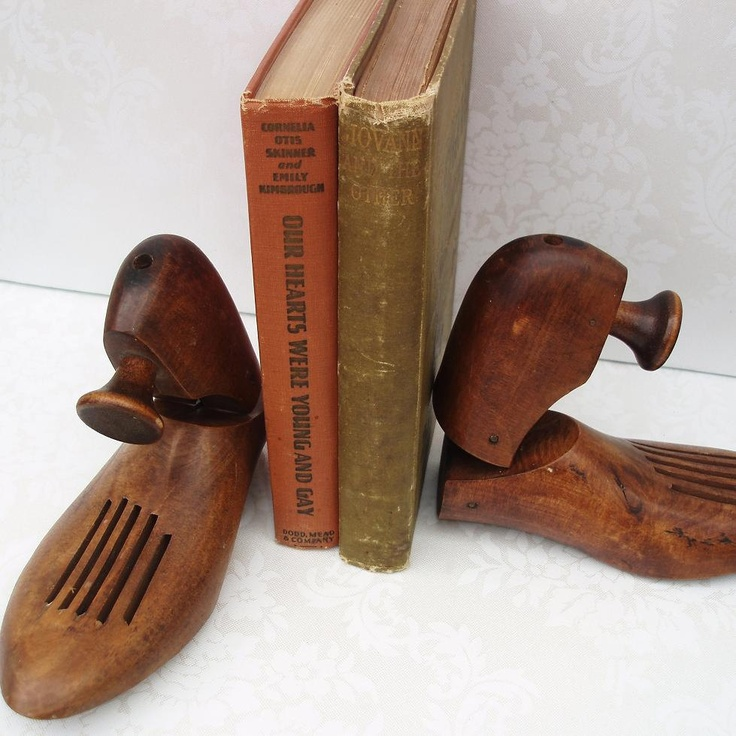 Wooden Shoe Trees  Mens Shoe Stretcher  Old Wooden Shoes  Repurpose Bookends. $32.00, via Etsy.