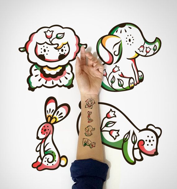 4 in 1 set  Kids Temporary Tattoo, Lamb Elephant, rabbit and bear by EasternCloud,  cute Temporary Tattoos for Kids are here, illustrated beautifully and great for those birthday sessions or goodies bag.