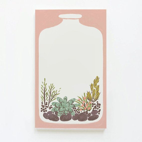 Terrarium Magnetic Notepad by QuillandFox on Etsy
