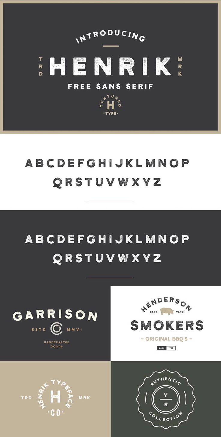Introducing Henrik - A free sans serif collaboration between Hustle Supply Co. & Font Forestry.Henrik is extremely versatile and excellent for achieving that vintage aesthetic with your designs. It features textured upper case characters and select punc…