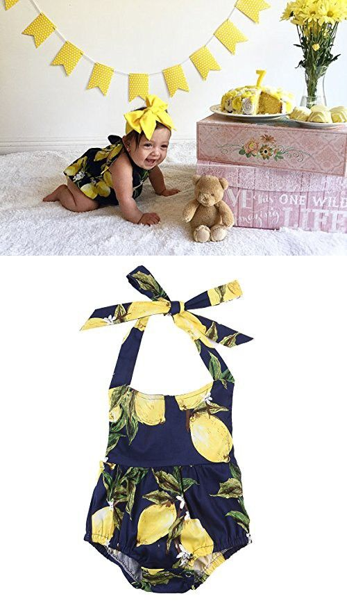 Cute Baby Infant Girls One Piece Clothes Romper Halter Backless Pear Printed Floral Bodysuit Ruffle Jumpsuit Outfits (18-24 Months)