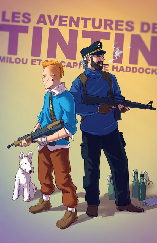 DeviantART user Tohad imagines BADASS versions of classic childhood characters.  In this case: The Adventures of Tintin