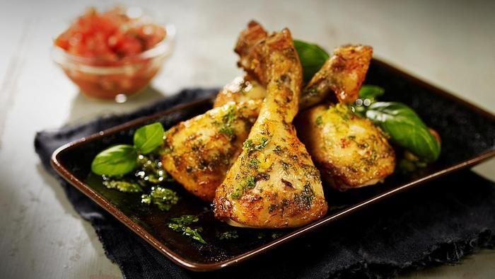 Kyllingklubber glasert med sitron og persille