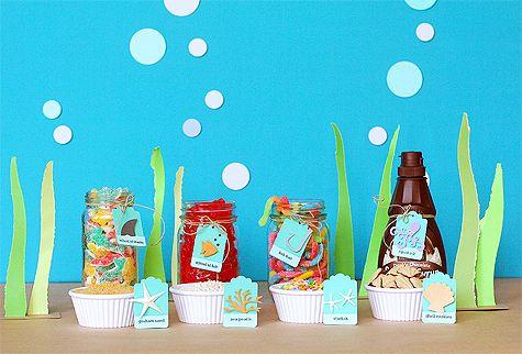 Fun ocean/fish themed ideas!: School Parties, Fish Party, Ice Cream, Sea Party, Under The Sea, Party Ideas, Mermaid Party, Birthday Party, Back To School