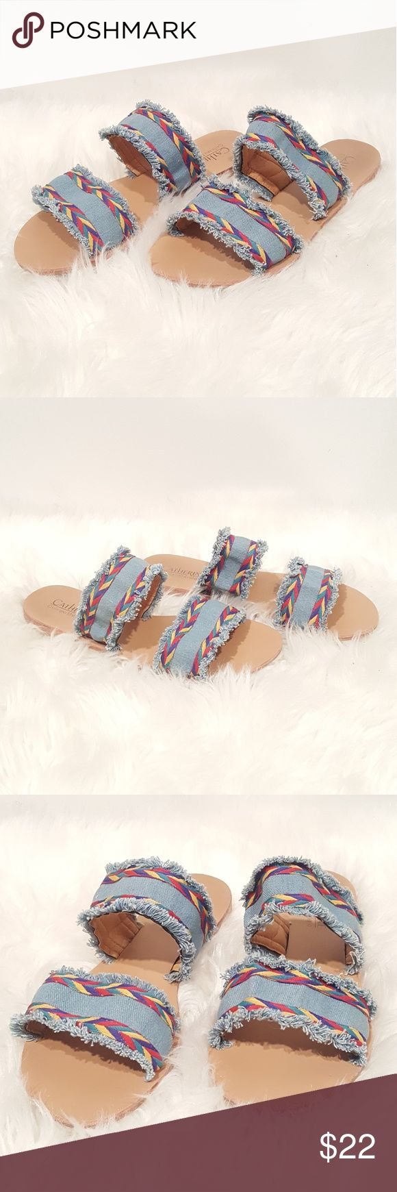 Denim Aztec Flats Flat slides. Sz 10 but fit like a 9. Reasonable offers considered. Cynthia Rowley Shoes