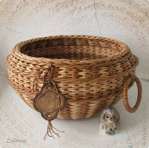 Поделка изделие Плетение Плетёнки из бумаги Бумага газетная Трубочки бумажные фото 1
