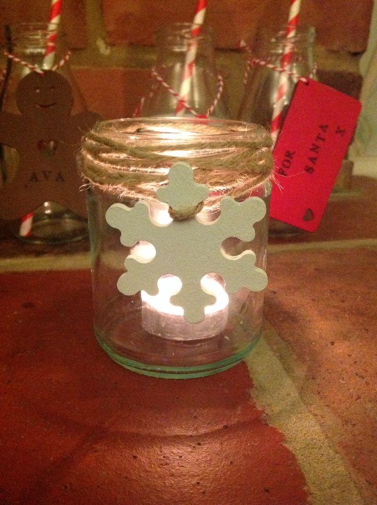 Snowflake tea light jar