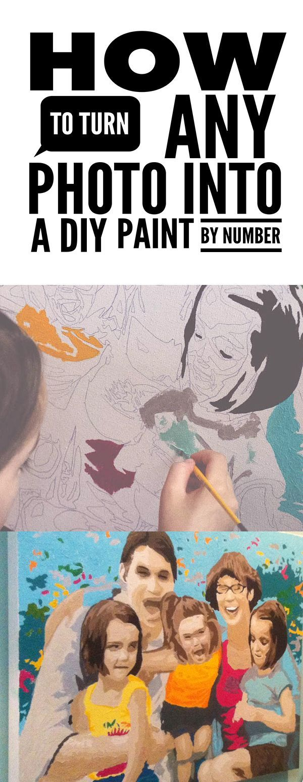 DIY Paint By Number - what an awesome tutorial!  This family portrait was painted by a 7 and 4 year old!