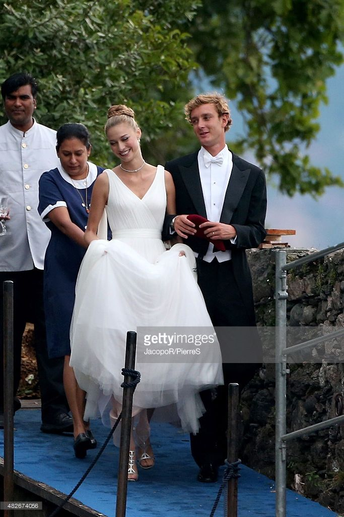Pierre Casiraghi and Beatrice Boromeo leave Isola Madre to attend their wedding party on August 1, 2015 in Stresa, Italy.
