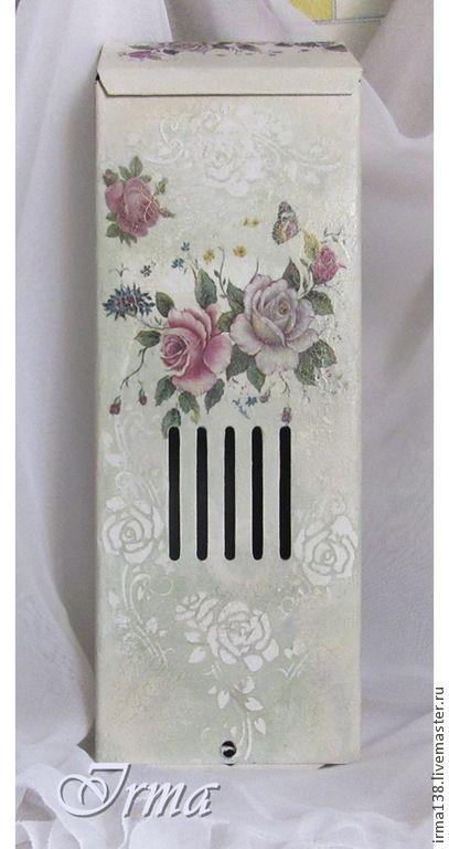 """Купить почтовый ящик """"Бабочка и розы"""" - белый, прихожая, почтовый ящик, подарок, подарок женщине"""