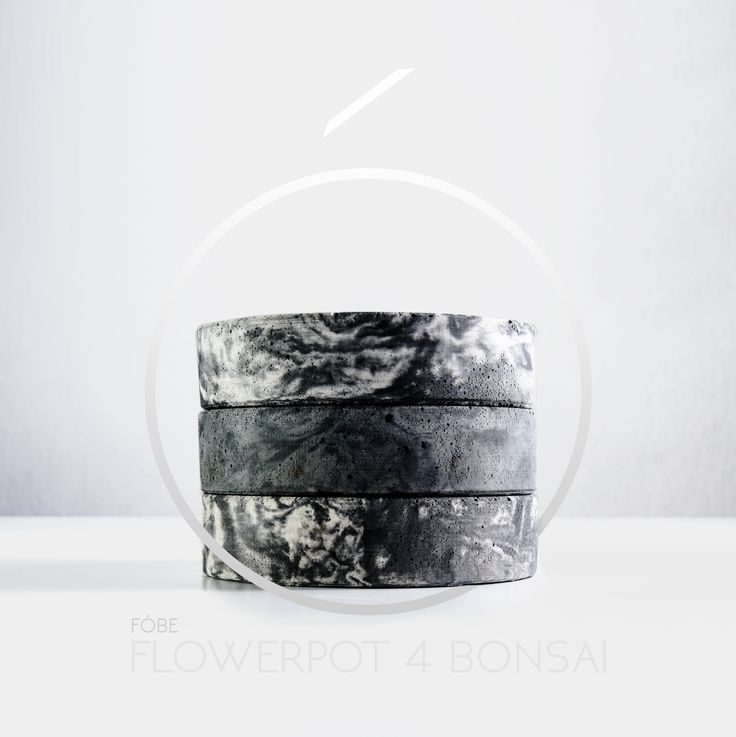 Flowerpot for bonsai - architectural concrete.   162 mm x 37 mm