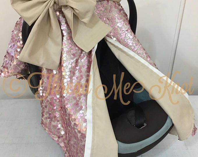SALE PRICE |LUX| Dusty Rose & Light Gold Car Seat Canopy with Slit in khaki