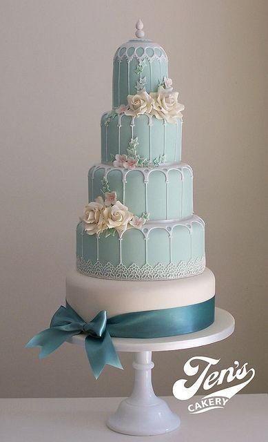 cake blue birdcage wedding