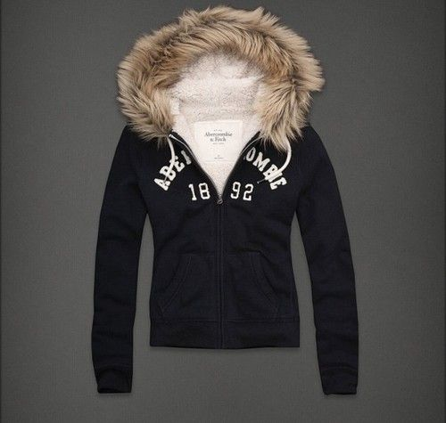 Abercrombie and Fitch Michelle Hoodie Navy Blue Small with Fur Trim
