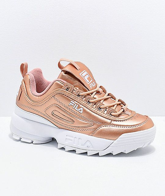 FILA Disruptor II Premium Rose Gold & White Shoes in 2019 | Shoes ...