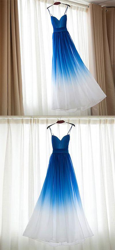 Spaghetti Strap Bridesmaid Dress,Royal Blue Ombre Long Bridesmaid Dresses,Chiffon Bridesmaid Dress,Royal Blue Ombre Prom Dress,A-line Sweetheart Bridesmaid Dress,Bridesmaid Dresses,HI75