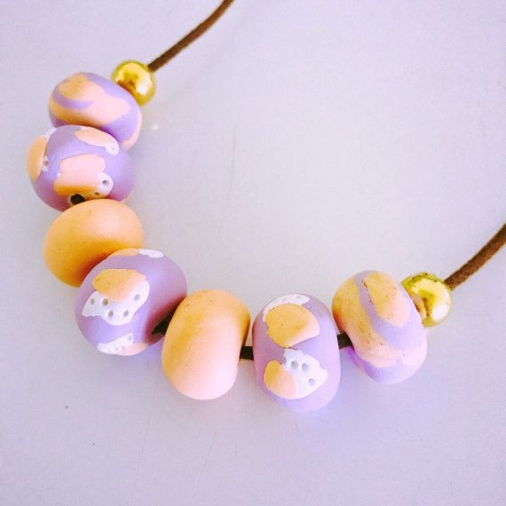 Polymer clay necklace / peach and lavender necklace / statement necklace / gifts for her.