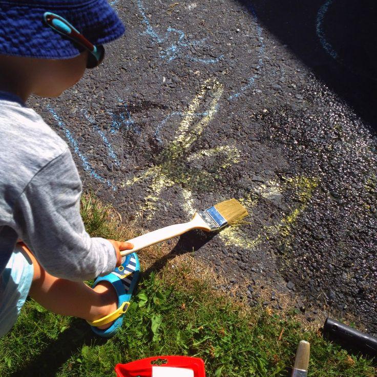 Hupsutteluja: Vesimaalaus / Water painting for kids and toddlers. Fun outdoor activity!