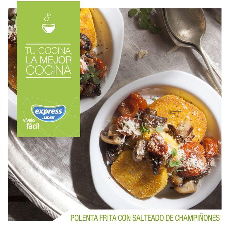Polenta frita con salteado de champiñones #Food #Receta #RecetarioExpress #Foodporn #Polenta #Champiñones