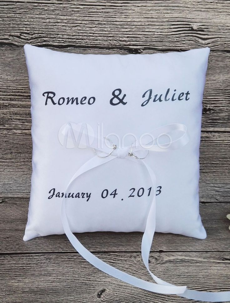 Ring Bearer Pillow White Customized Name And Date…